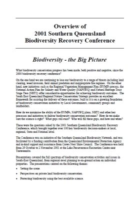 2001 Southern Queensland Biodiversity Conference Overview