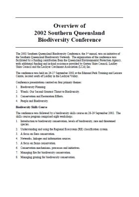 2002 Southern Queensland Biodiversity Conference Overview