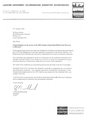 2001 Southern Queensland Biodiversity Recovery Conference - Congratulations letter