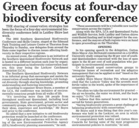 2002 Southern Queensland Biodiversity Conference and Skills Course - Green focus at four-day biodiversity conference