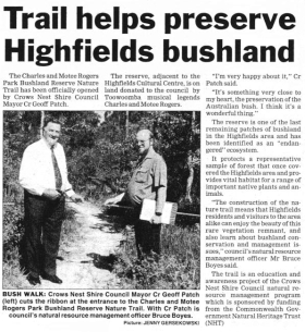 Crows Nest Shire Project Green Nest - Trail helps preserve Highfields bushland