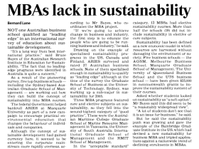 MBAs lack in sustainability - The Australian 29 June 2005
