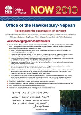Office of the Hawkesbury-Nepean - Recognising the contribution of our staff