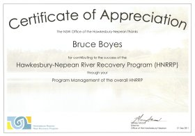 Hawkesbury-Nepean River Recovery Program (HNRRP) Certificate of Appreciation - Bruce Boyes, Program Manager