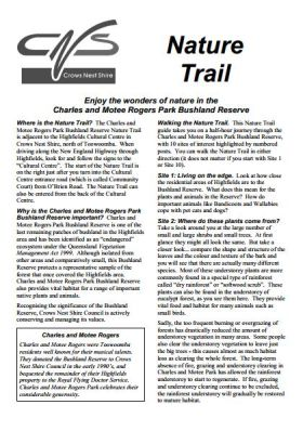 Nature Trail Brochure, Charles and Motee Rogers Bushland Reserve